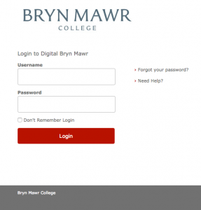 Digital Bryn Mawr Sign On Page